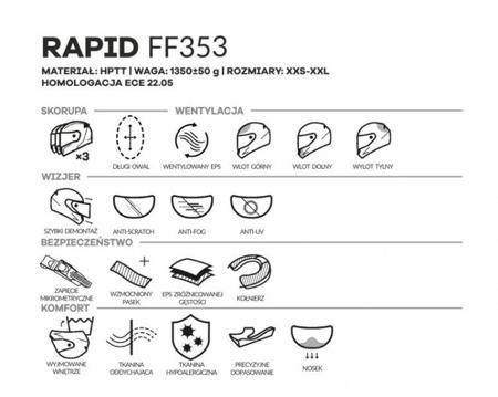 Kask LS2 FF353 RAPID DEADBOLT czarno-biały