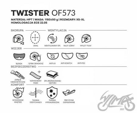 Kask otwarty LS2 OF573 TWISTER PLANE H-V żółty